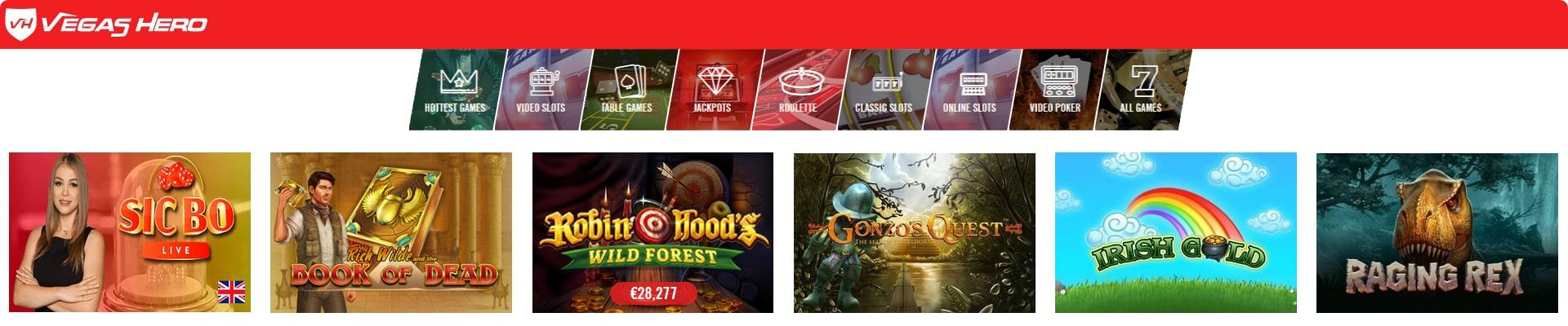 Vegas Hero Casino slots.