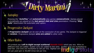 Dirty Martini slot machine logo.