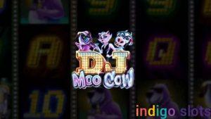 Dj Moo Cow slot machine logo.
