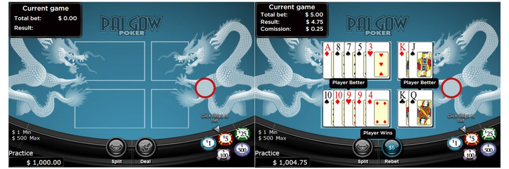 Pai Gow poker online casino games.