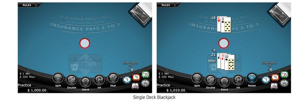 Single deck blackjack odds.
