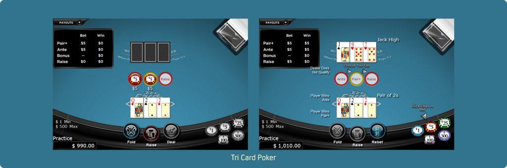 Tri Card Poker online.