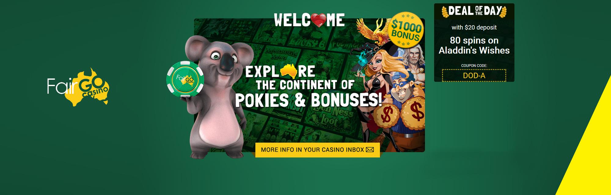 Fair Go casino bonuses.
